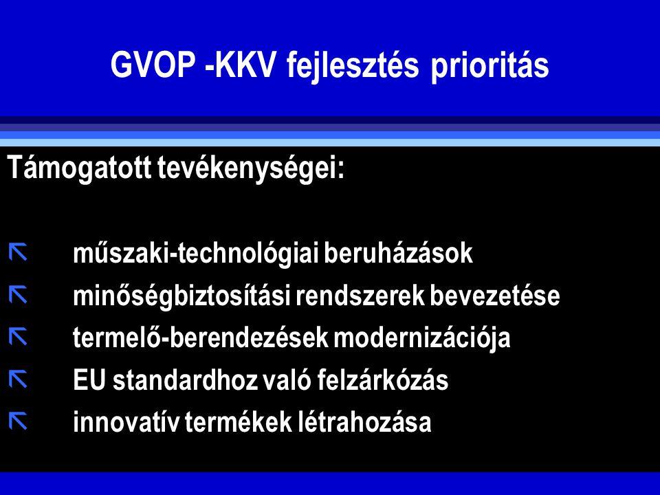 GVOP -KKV fejlesztés prioritás