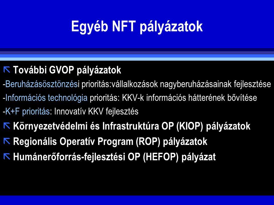 Egyéb NFT pályázatok További GVOP pályázatok
