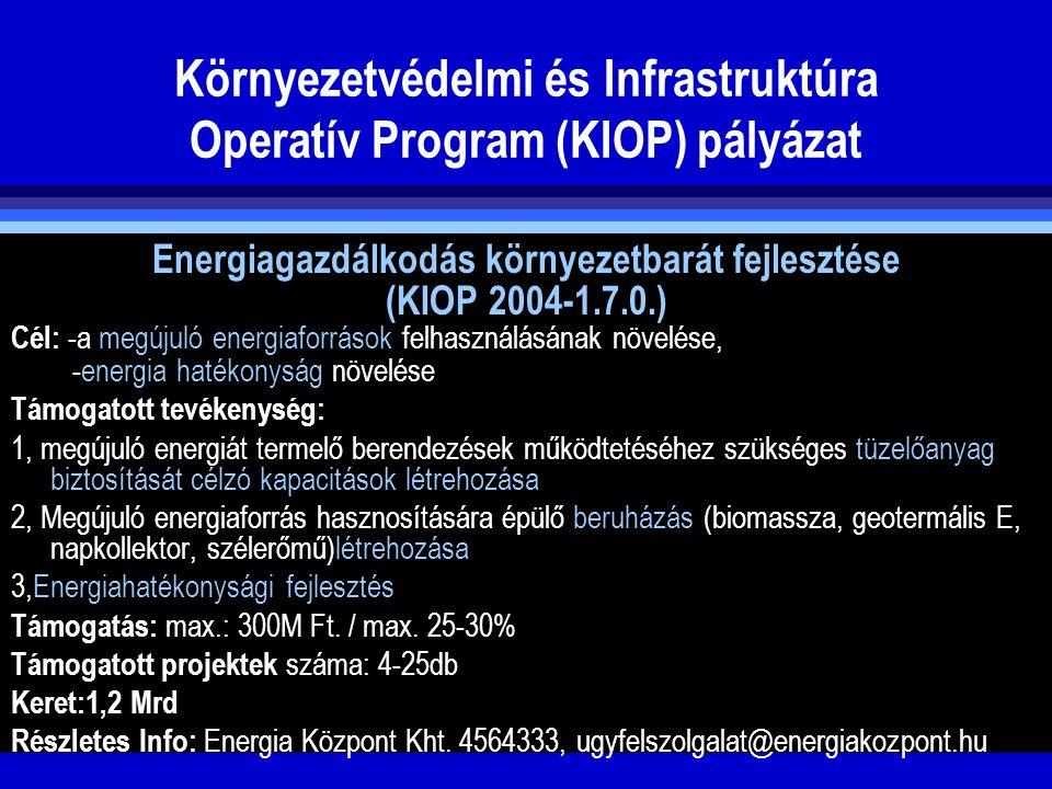Környezetvédelmi és Infrastruktúra Operatív Program (KIOP) pályázat