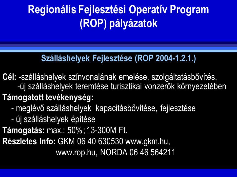 Regionális Fejlesztési Operatív Program (ROP) pályázatok