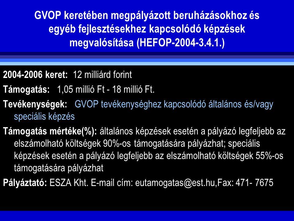 GVOP keretében megpályázott beruházásokhoz és egyéb fejlesztésekhez kapcsolódó képzések megvalósítása (HEFOP-2004-3.4.1.)