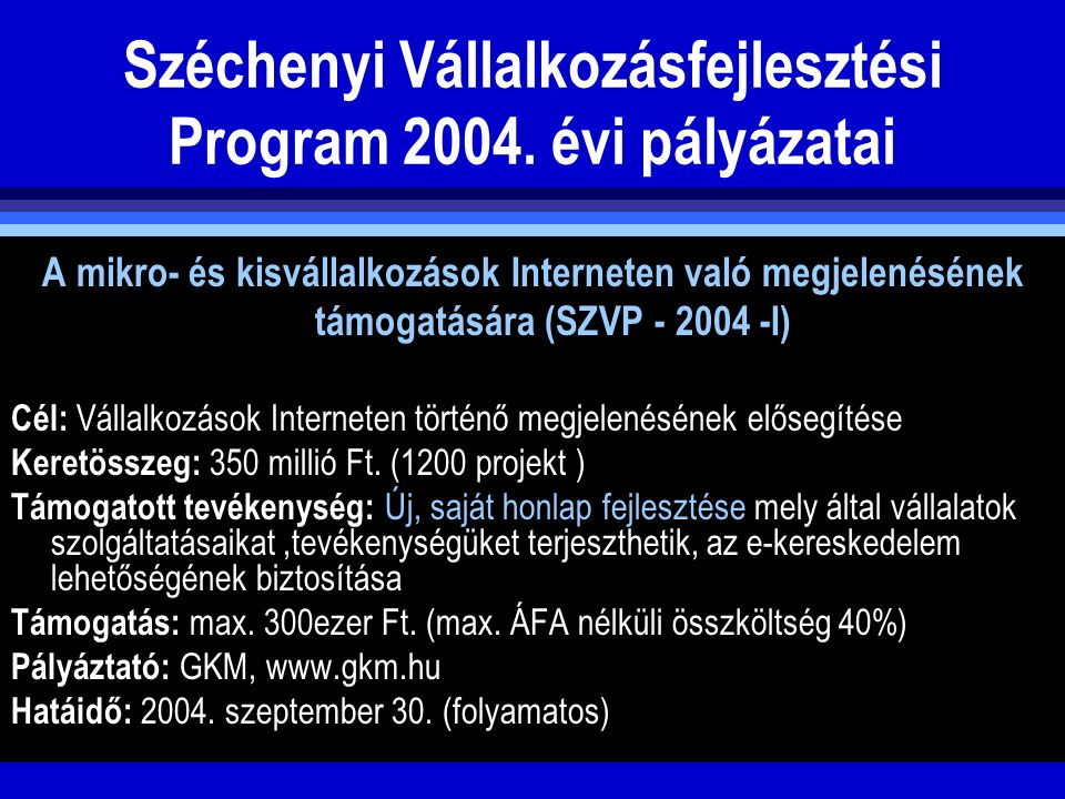 Széchenyi Vállalkozásfejlesztési Program 2004. évi pályázatai