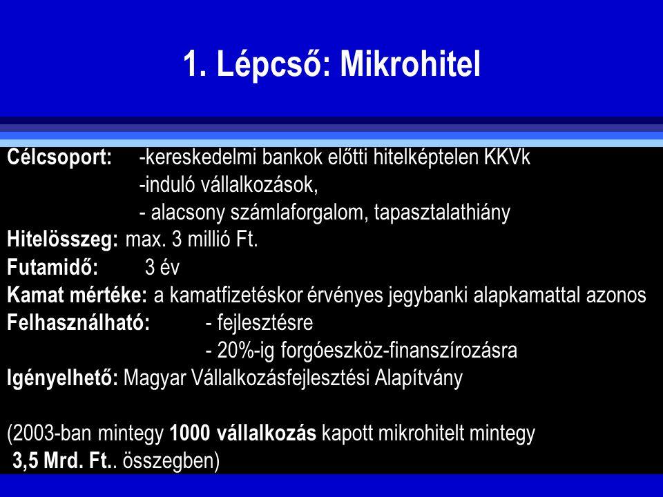1. Lépcső: Mikrohitel Célcsoport: -kereskedelmi bankok előtti hitelképtelen KKVk. -induló vállalkozások,