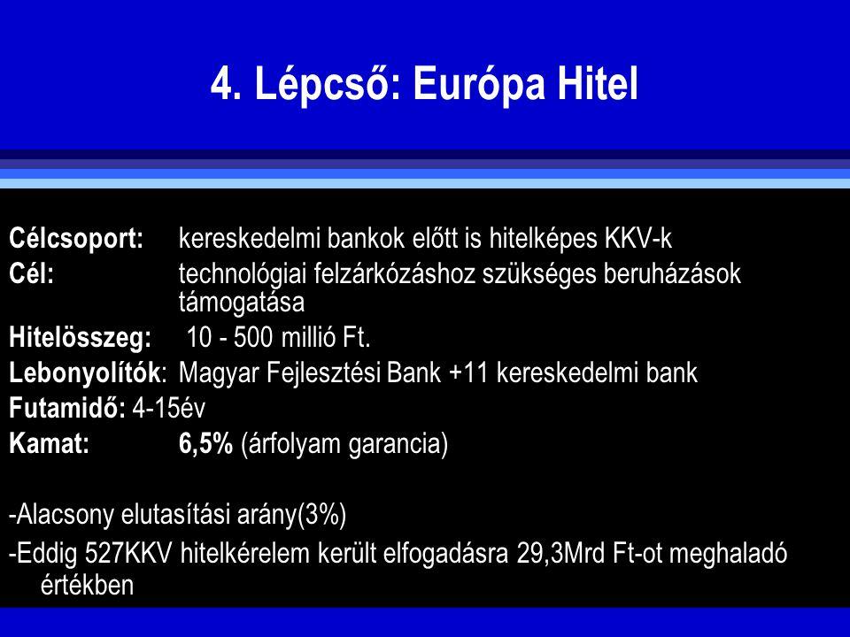 4. Lépcső: Európa Hitel Célcsoport: kereskedelmi bankok előtt is hitelképes KKV-k.