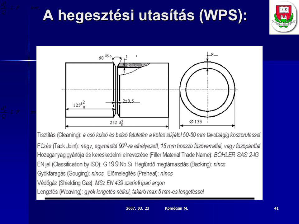 A hegesztési utasítás (WPS):