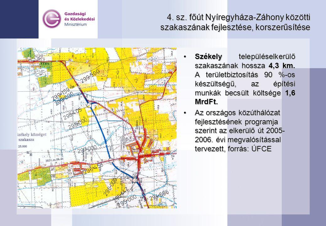 4. sz. főút Nyíregyháza-Záhony közötti szakaszának fejlesztése, korszerűsítése