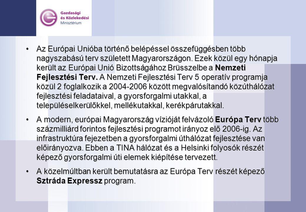 Az Európai Unióba történő belépéssel összefüggésben több nagyszabású terv született Magyarországon. Ezek közül egy hónapja került az Európai Unió Bizottságához Brüsszelbe a Nemzeti Fejlesztési Terv. A Nemzeti Fejlesztési Terv 5 operatív programja közül 2 foglalkozik a 2004-2006 között megvalósítandó közúthálózat fejlesztési feladataival, a gyorsforgalmi utakkal, a településelkerülőkkel, mellékutakkal, kerékpárutakkal.