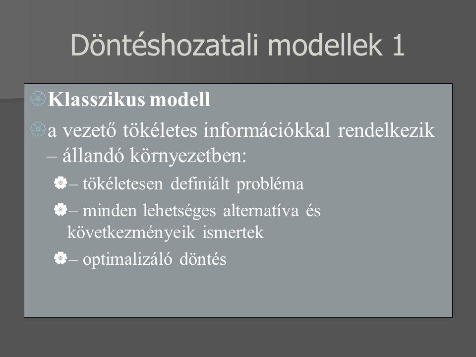 Döntéshozatali modellek 1
