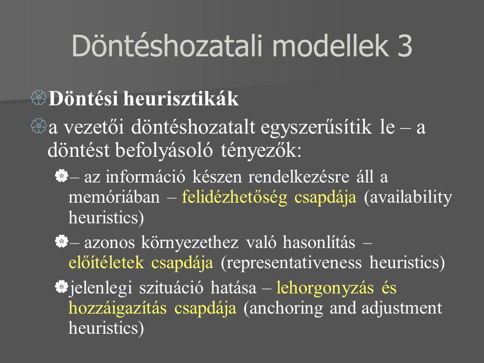 Döntéshozatali modellek 3