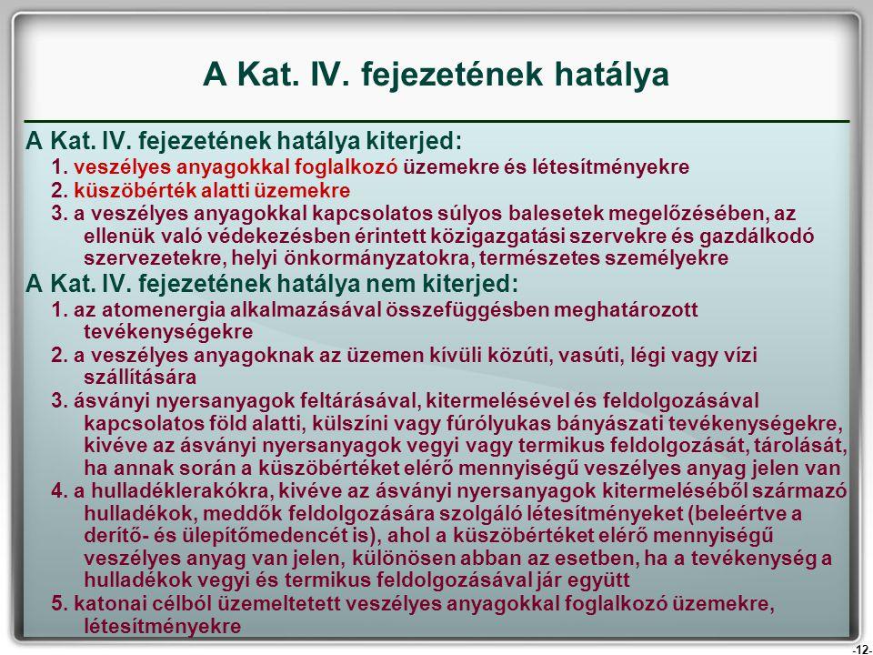 A Kat. IV. fejezetének hatálya