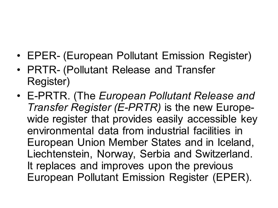 EPER- (European Pollutant Emission Register)