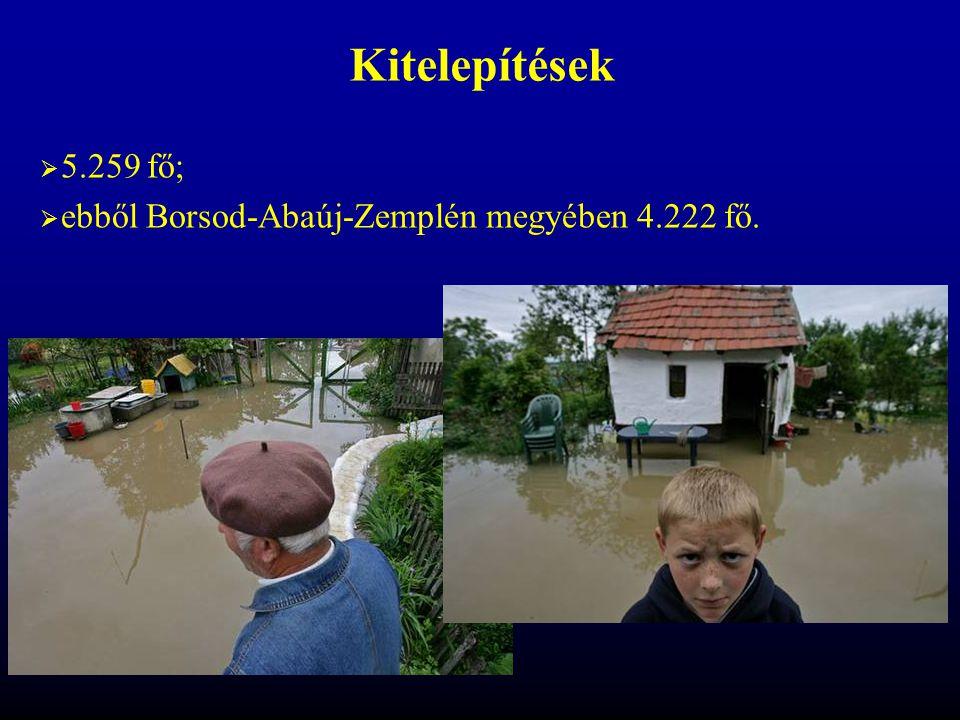Kitelepítések 5.259 fő; ebből Borsod-Abaúj-Zemplén megyében 4.222 fő.