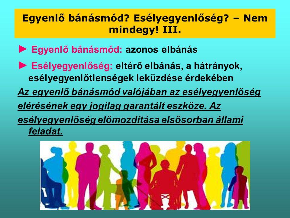 Egyenlő bánásmód Esélyegyenlőség – Nem mindegy! III.