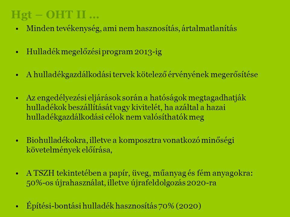 Hgt – OHT II … Minden tevékenység, ami nem hasznosítás, ártalmatlanítás. Hulladék megelőzési program 2013-ig.