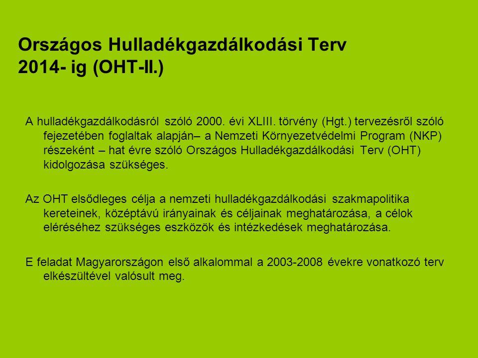 Országos Hulladékgazdálkodási Terv 2014- ig (OHT-II.)