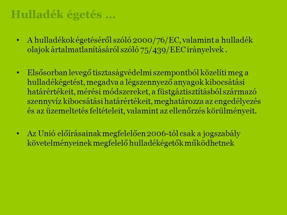 Hulladék égetés … A hulladékok égetéséről szóló 2000/76/EC, valamint a hulladék olajok ártalmatlanításáról szóló 75/439/EEC irányelvek .