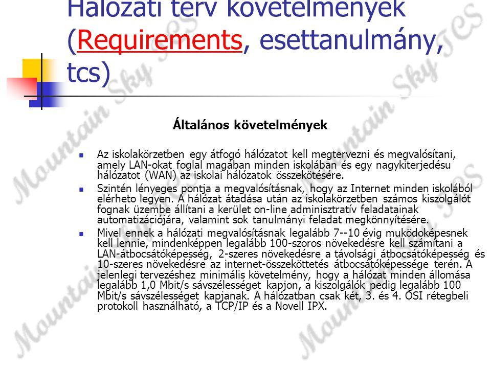 Hálózati terv követelmények (Requirements, esettanulmány, tcs)