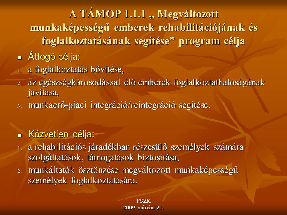 """A TÁMOP 1.1.1 """" Megváltozott munkaképességű emberek rehabilitációjának és foglalkoztatásának segítése program célja"""