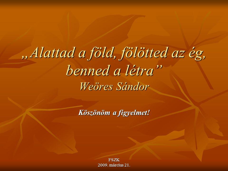 """""""Alattad a föld, fölötted az ég, benned a létra Weöres Sándor"""