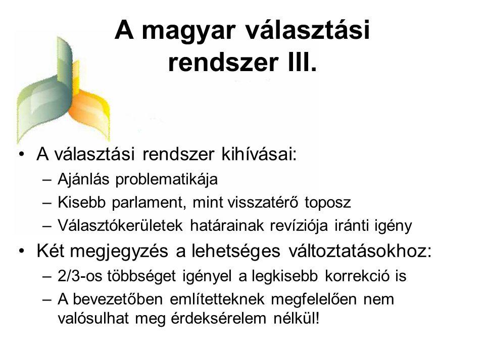A magyar választási rendszer III.