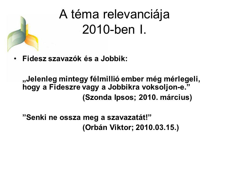 A téma relevanciája 2010-ben I.