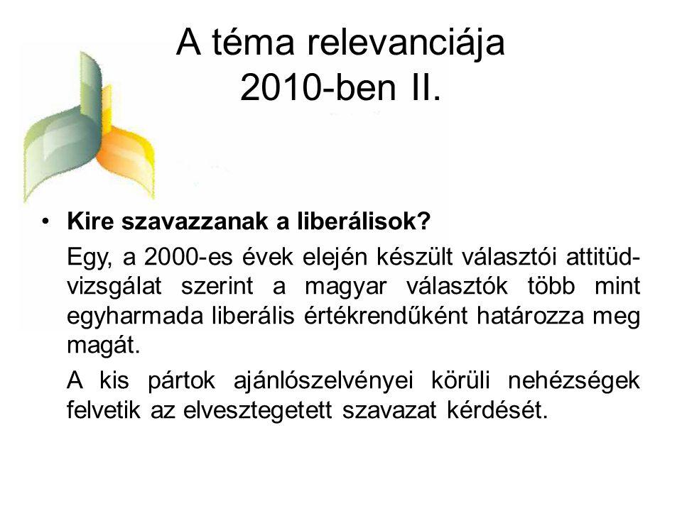 A téma relevanciája 2010-ben II.
