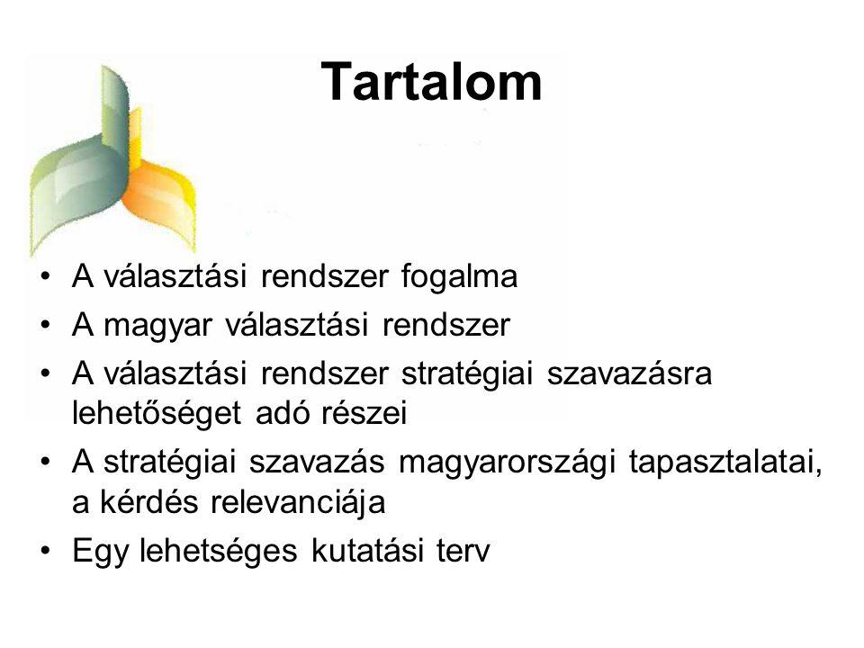 Tartalom A választási rendszer fogalma A magyar választási rendszer