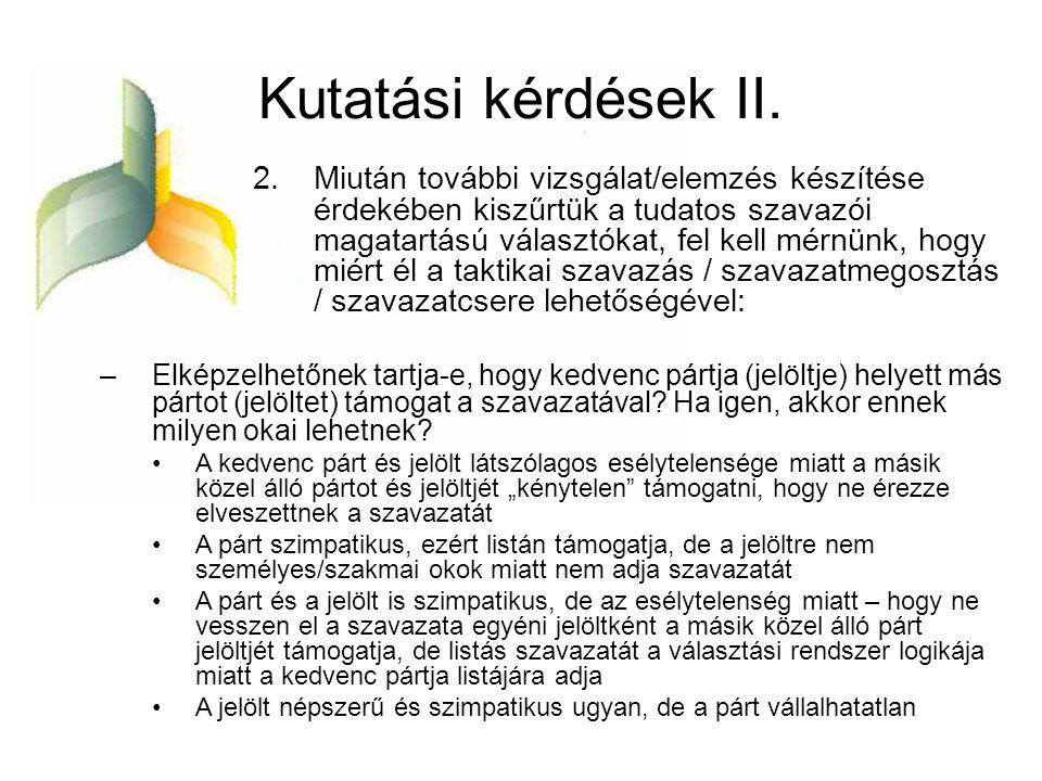 Kutatási kérdések II.