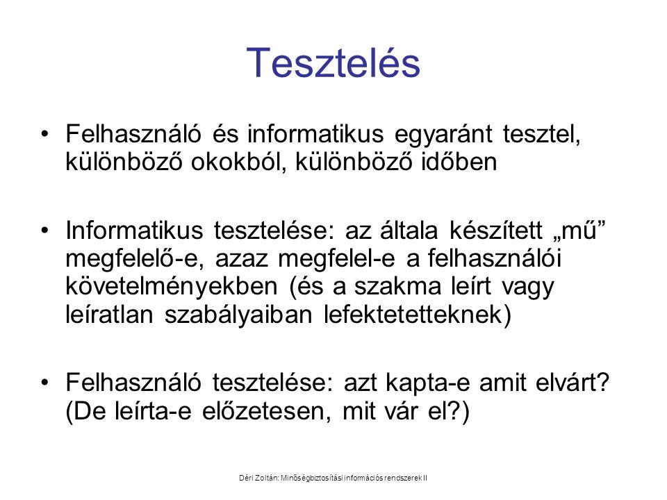 Déri Zoltán: Minőségbiztosítási információs rendszerek II