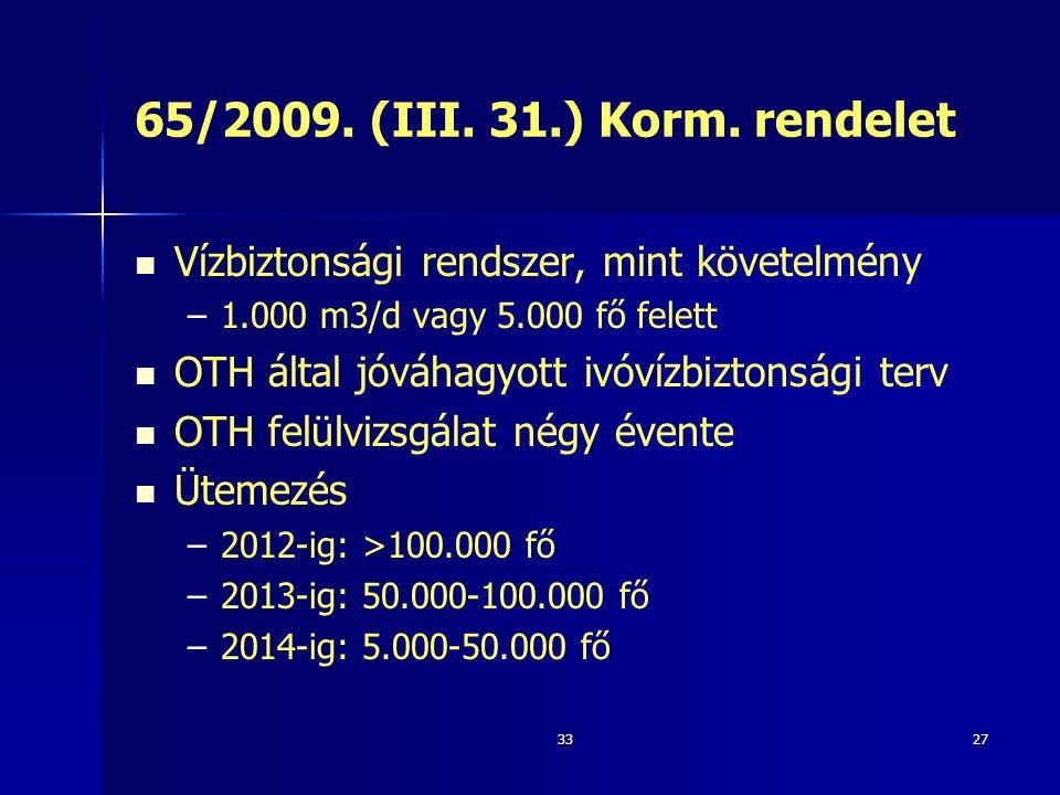 65/2009. (III. 31.) Korm. rendelet Vízbiztonsági rendszer, mint követelmény. 1.000 m3/d vagy 5.000 fő felett.