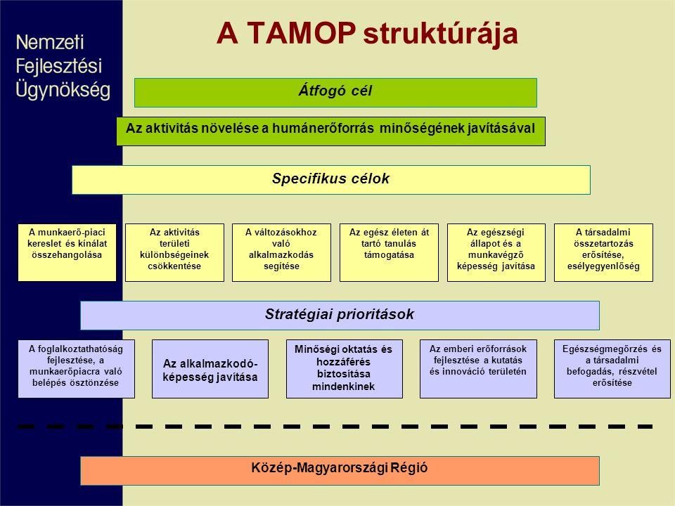 A TAMOP struktúrája Átfogó cél Specifikus célok Stratégiai prioritások