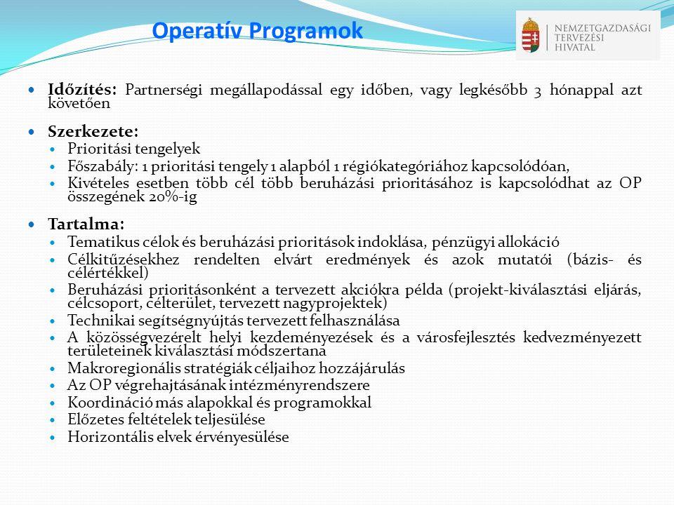 Operatív Programok Időzítés: Partnerségi megállapodással egy időben, vagy legkésőbb 3 hónappal azt követően.