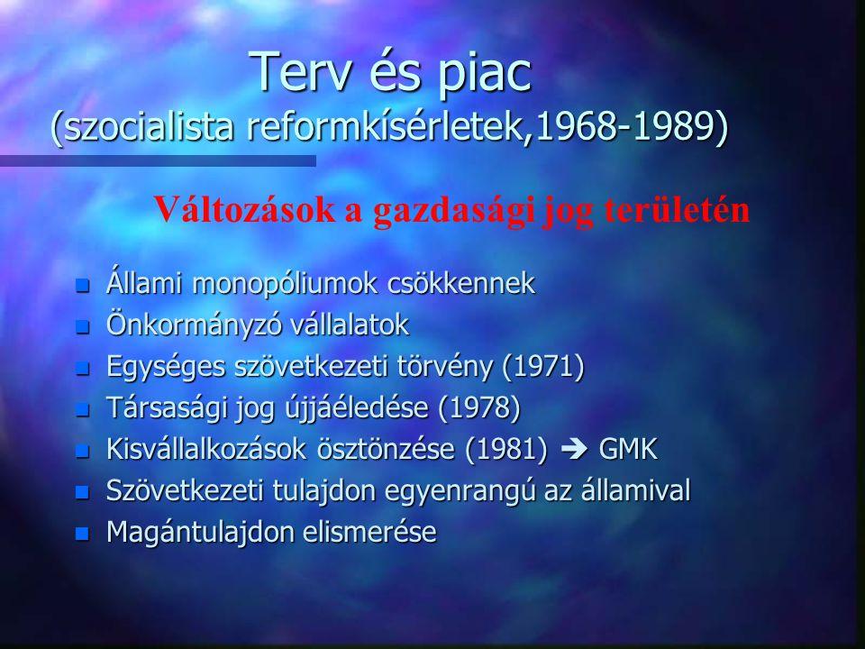 Terv és piac (szocialista reformkísérletek,1968-1989)