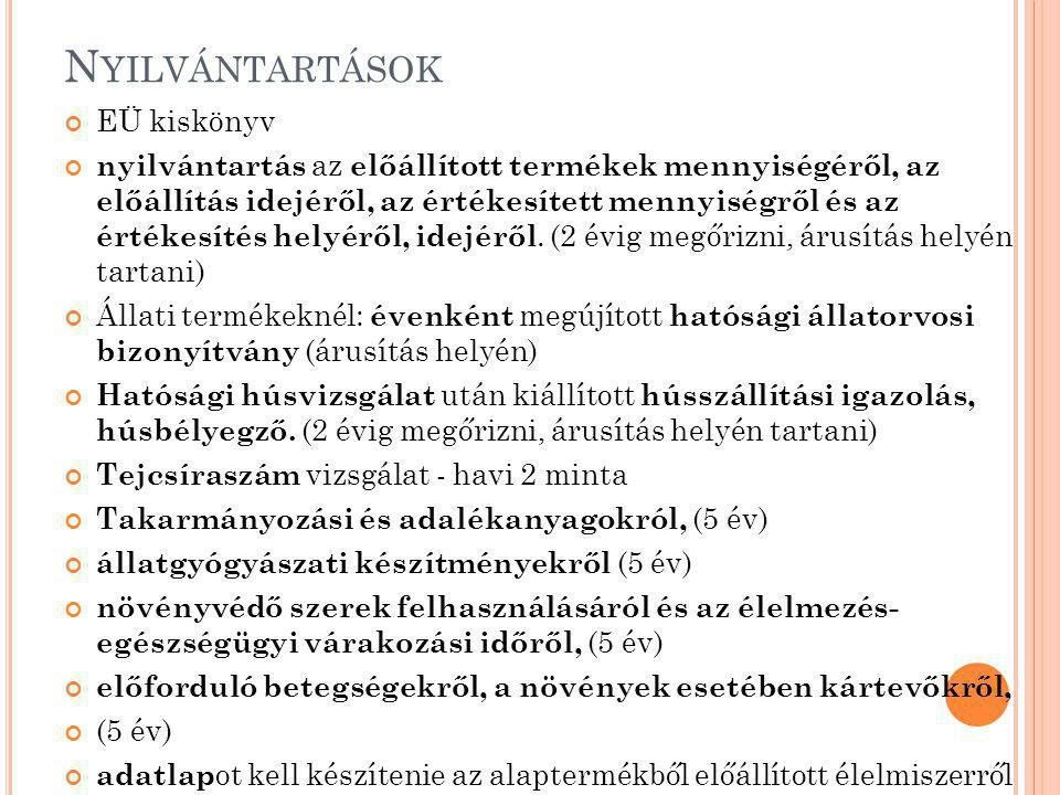 Nyilvántartások EÜ kiskönyv