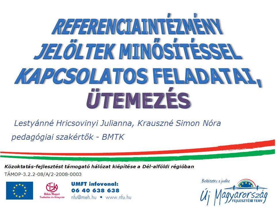 REFERENCIAINTÉZMÉNY JELÖLTEK MINŐSÍTÉSSEL KAPCSOLATOS FELADATAI, ÜTEMEZÉS