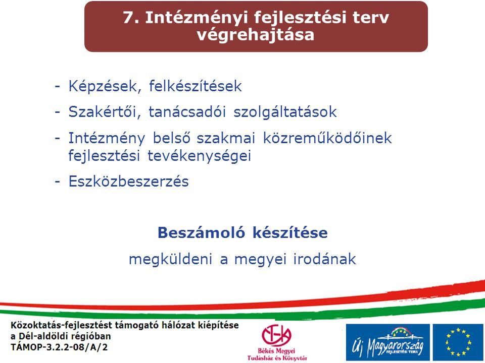 7. Intézményi fejlesztési terv végrehajtása