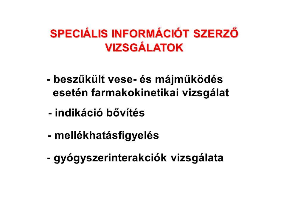 SPECIÁLIS INFORMÁCIÓT SZERZŐ VIZSGÁLATOK