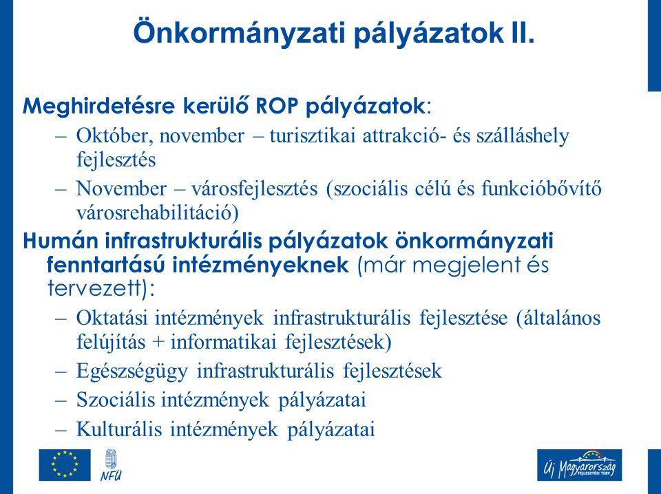 Önkormányzati pályázatok II.