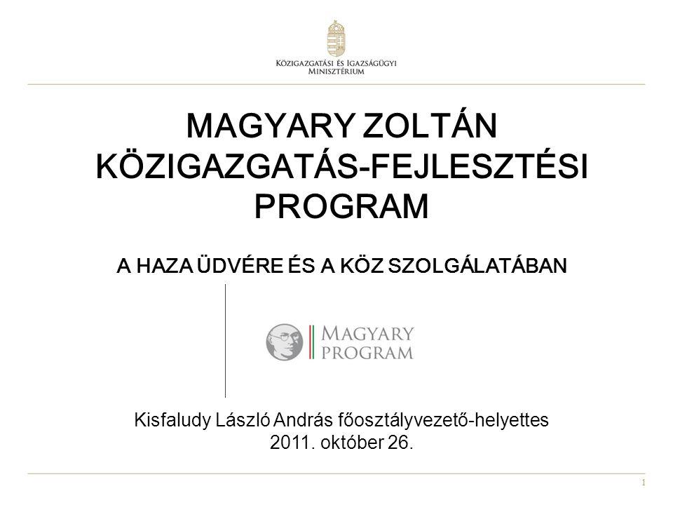MAGYARY ZOLTÁN KÖZIGAZGATÁS-FEJLESZTÉSI PROGRAM A Haza üdvére és a köz szolgálatában Kisfaludy László András főosztályvezető-helyettes 2011.