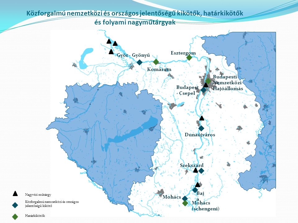 Közforgalmú nemzetközi és országos jelentőségű kikötők, határkikötők és folyami nagyműtárgyak