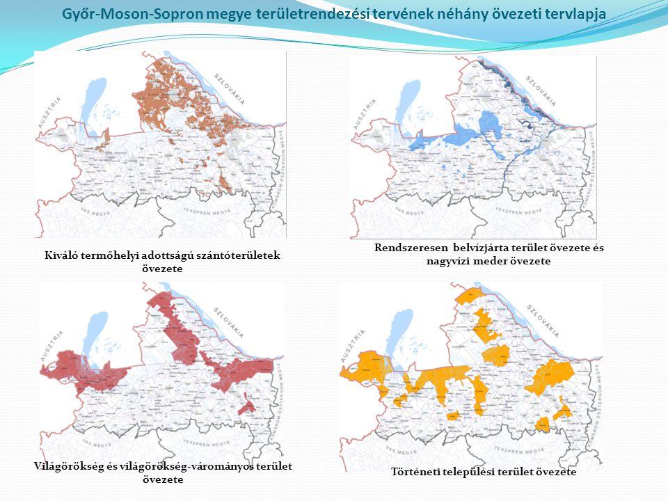 Győr-Moson-Sopron megye területrendezési tervének néhány övezeti tervlapja