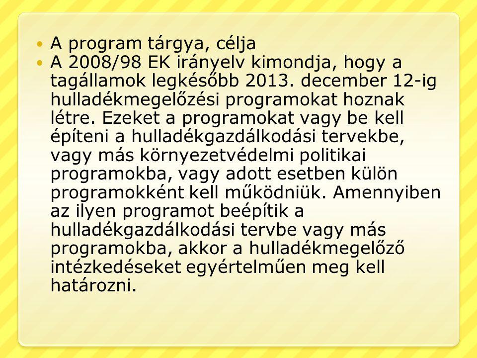 A program tárgya, célja