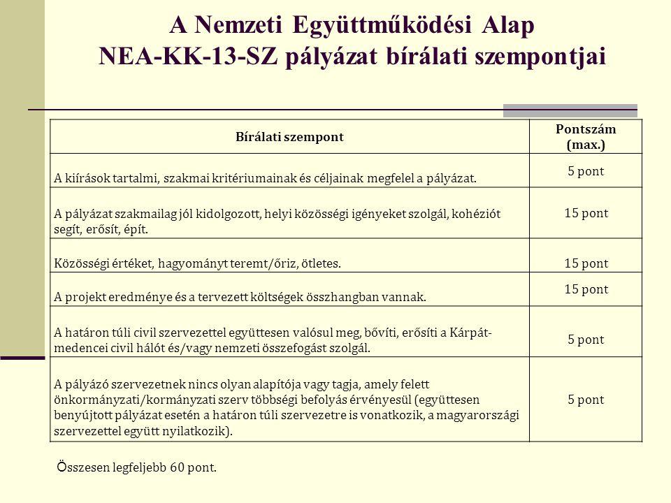 A Nemzeti Együttműködési Alap NEA-KK-13-SZ pályázat bírálati szempontjai