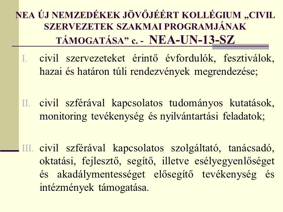 """NEA ÚJ NEMZEDÉKEK JÖVŐJÉÉRT KOLLÉGIUM """"CIVIL SZERVEZETEK SZAKMAI PROGRAMJÁNAK TÁMOGATÁSA c. - NEA-UN-13-SZ"""
