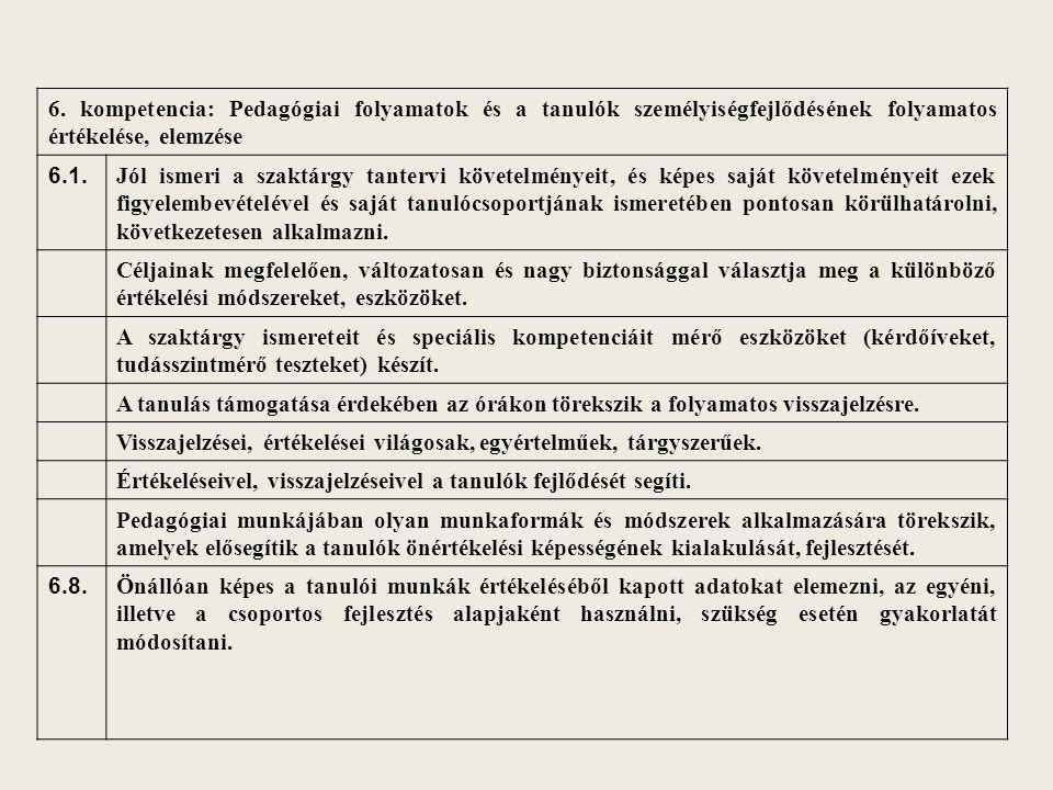 6. kompetencia: Pedagógiai folyamatok és a tanulók személyiségfejlődésének folyamatos értékelése, elemzése