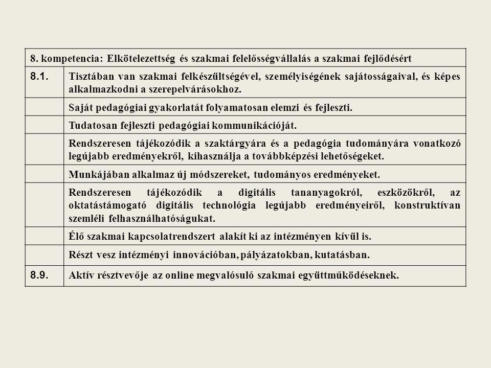 8. kompetencia: Elkötelezettség és szakmai felelősségvállalás a szakmai fejlődésért