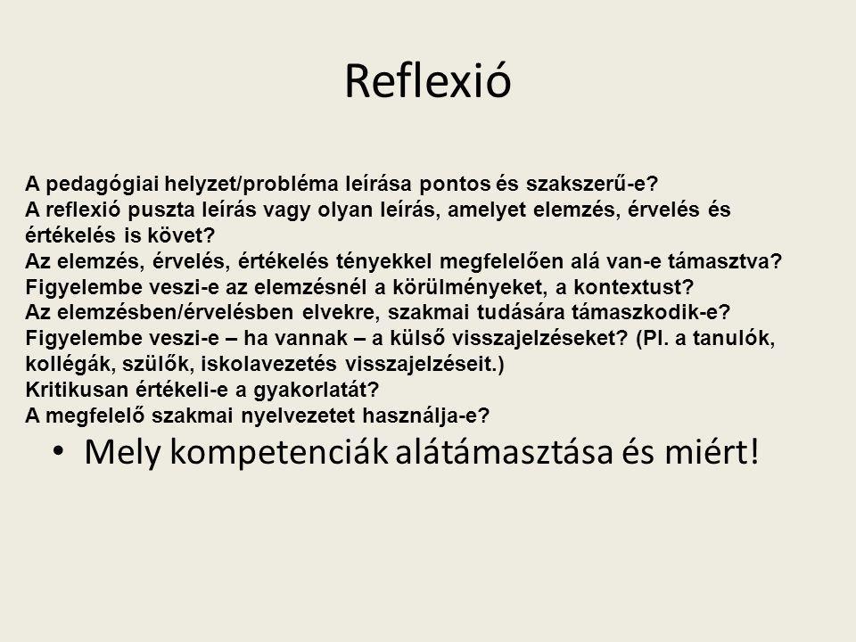 Reflexió Mely kompetenciák alátámasztása és miért!