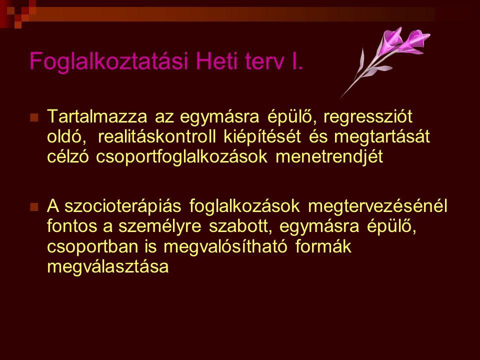 Foglalkoztatási Heti terv I.