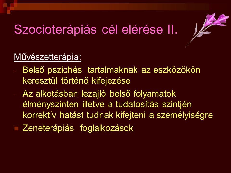 Szocioterápiás cél elérése II.
