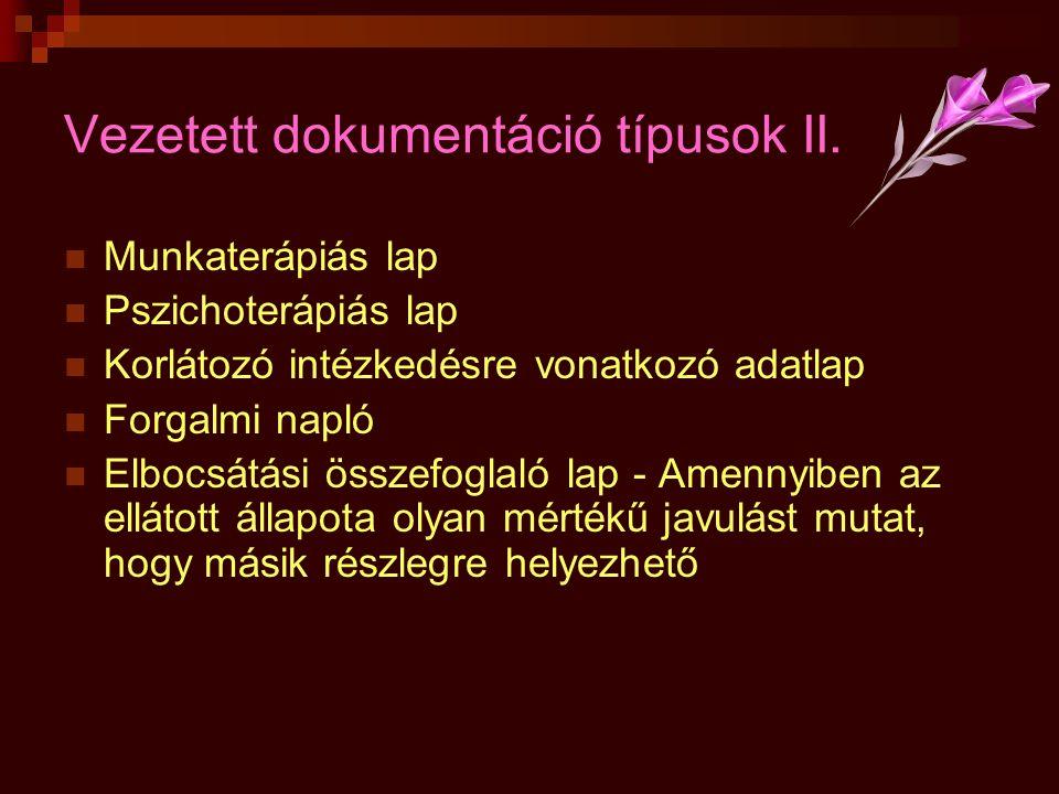 Vezetett dokumentáció típusok II.